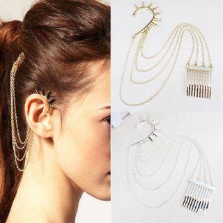 Fashion Punk Gothic Ear Cuff Earrings Chain Hair Cuff Comb BOHO Design