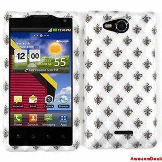 CELL PHONE COVER CASE FOR LG LUCID VS840 BLACK WHITE SAINTS LOGO GRAY