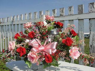 Day Solar Light Sympathy Cemetery Silk Flower Saddles Rose Memorial