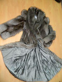 BLUE IRIS GRAY MINK SILVER FOX FUR COAT FULL LENGTH 49 SZ. L Mink
