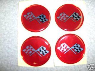 Chevy Corvette Rally Center Emblem Decal Red Cross Flag