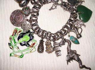 Vintage Sterling Silver Bracelet & 19 Charms, Rare Beau, Dragon, JADE