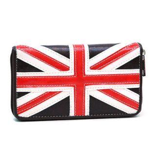 British Flag Zip Around Checkbook Wallet   Coffee