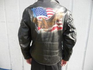 Steer Brand Leather Motorcycle Jacket 48 XL American Flag Eagle on