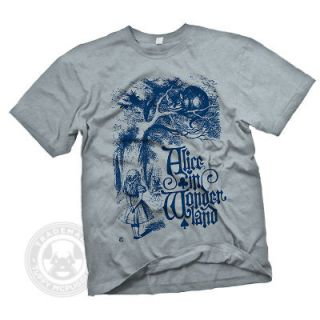 CHESHIRE CAT Vintage Alice in Wonderland looking glass Illustration T