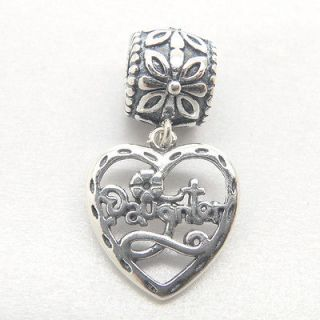925 sterling Silver Core daughter Dangle heart charm bead YB194