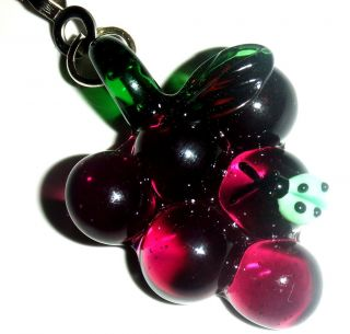 LIGHT LAMP CEILING FAN PULL GLASS PURPLE GRAPE GRAPES WITH GREEN