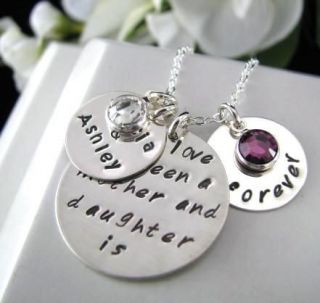 Sterling Silver Hand Stamped 3 Charm Daughter Mother FOREVER Necklace
