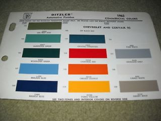 1962 CHEVROLET TRUCK PAINT COLOR CHIPS BROCHURE, SHEET, 13 COLORS
