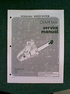 POULAN CHAIN SAW 3400 3700 4000 SERVICE MANUAL