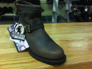 Mens Chippewa 99406 7 Inch Brown Bay Apache Plain Engineer Boot