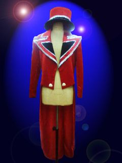 Cher Costume Circus Red Tail suit and Hat Showgirl Drag Queen Cabaret