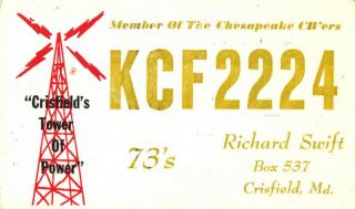 CB radio QSL postcard tower Chesapeake club 1960s Crisfield Maryland