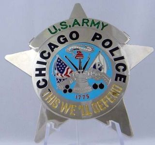 Obsolete Chicago Police U.S. Army Novelty Badge