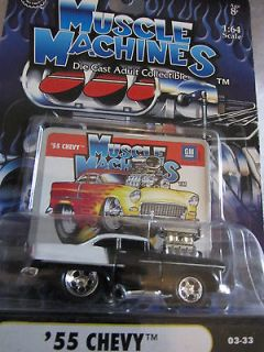 Muscle Machines 1955 Chevy Coupe Black / White 03 33 1:64 scale