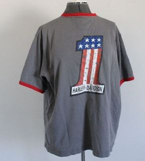 Harley Davidson Gray Red Ringer #1 Shirt 2L XXL 2XL