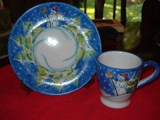 Vtg Rare Vietri Christmas Mug and Salad Cookie Plate Beautiful