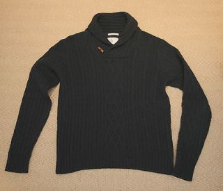 GANT RUGGER CHUNKY KNIT WOOL NAVY BLUE CABLE JUMPER SIZE MEDIUM RRP.£