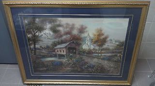 "Carl Valente Print ""Rezzberry Creek Crossing"" Large W/Beautiful"
