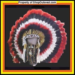 American Navajo 36 War Bonnet Headdress CHOCTAW red, black, & white