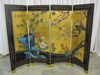 Black Chinoisery Oriental Room Screen Cherry Blossoms & Lotus Flowers