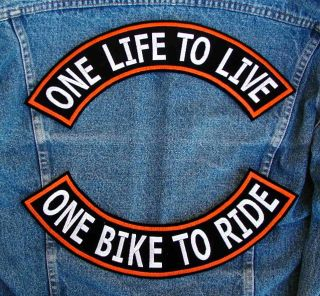 LIFE TO LIVE Rockers Biker Motorcycle Patch by DIXIEFARMER Orange & Bl
