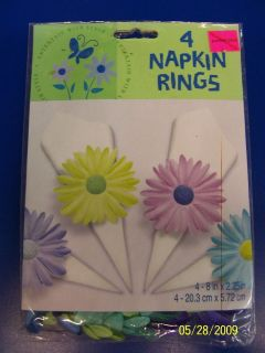 Party Spring Collage Reception Floral Fabric Flower Paper Napkin Rings