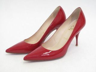 Christian Louboutin Red Patent Leather Pointed Toe Pumps 38.5