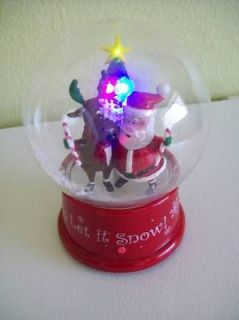 Gemmy Christmas Small Snow Globe Plays 10 Songs Whirling Snow Lights