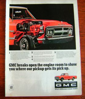 1968 GMC Pickup Truck Ad Engine Cut a way View
