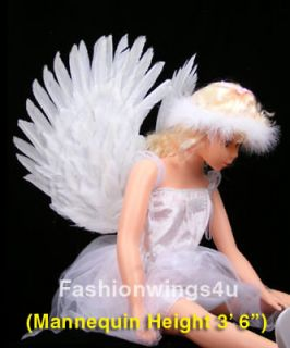 Childrens costume feather angel wings pointing up or down White Swan