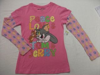 NEW Girls Long Sleeve T Shirt Tom & Jerry Peace Love Pink Top XL 14 16