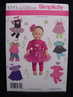 1711 ~ 18 inch DOLL CLOTHES PATTERN American Girl Disney Princess