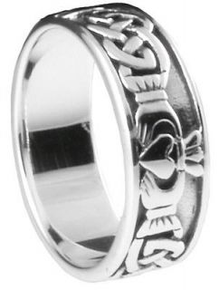 Newly listed Silver Celtic Claddagh Mens Ring Irish wedding sz 10 11 v