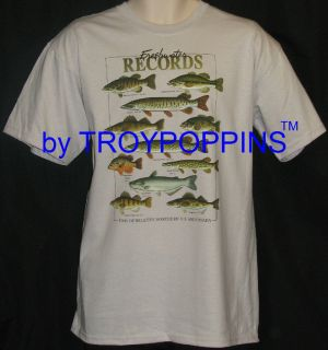 FRESHWATER RECORDS FISH GAME FLY FISHING GEAR 2X 3X T SHIRT GRAPHIC