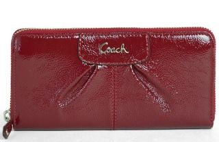 Coach Ashley Patent Leather Pleated Zip Around Accordion Wallet 46307