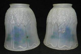 Vintage Clear Frosted Glass Lamp Shades 2   Reverse Painted Blue