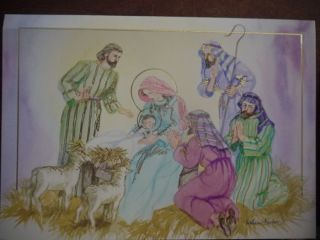 Christmas Cards Religous 3 Box Lot Nativity Scene Manger Baby Jesus