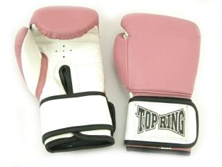 NEW BOXING GLOVES   PINK  12 oz Wrist Support Top Ring