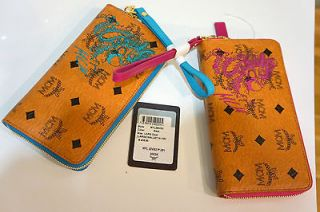 Zip Around Pink/Blue Wallet Bag New Wristlet Coin Purse Leather $435