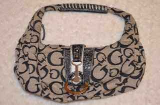 tb Guess Logo Canvas Cloth Embossed Animal Print Purse Handbag