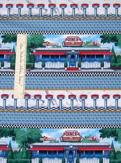 Todays Special Retro 1950s Diner Bench Stripe Blue Quilting Treasures
