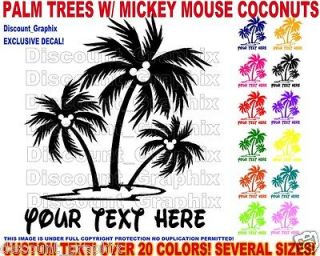 PALM TREE ISLAND MICKEY MOUSE COCONUTS DISNEY LETTERING DECAL SALT