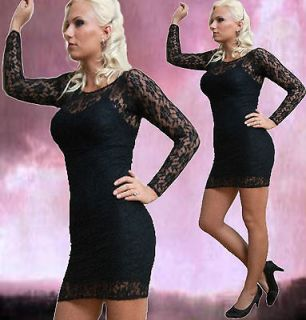 Mademoiselle MirageMadeira  Sexy Woman Ladies Black Lace Short Dress
