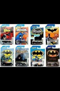 NEW 2012 HOT WHEELS BATMAN BATMOBILE COMPLETE SET OF #1,2,3,4,5,6, 7&8
