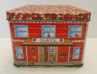 Collectible tin advertising container   SCHOOL HOUSE gummy bunnies