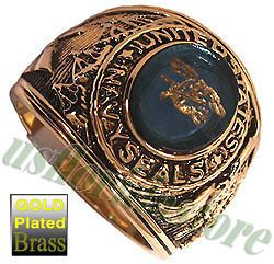 US Navy Seals Military Gold Plated Ring New