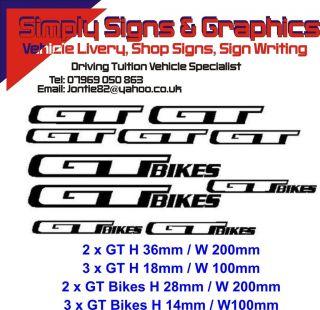 GT x 6 Bike/Helmet/Frame/Mountain bike Stickers Decals Buy 2 Get 1