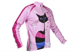 Cycling bike Comfortable Outdoor Jersey clothes pink cat woman M