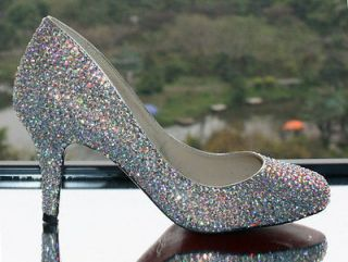 2012 Sparkling Mid Heel Rhinestone Leather Women Wedding Bridal Prom